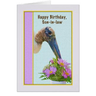 Tarjeta del cumpleaños del yerno con la cigüeña y