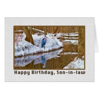 Tarjeta del cumpleaños del yerno con la garza azul