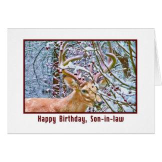 Tarjeta del cumpleaños del yerno con los ciervos