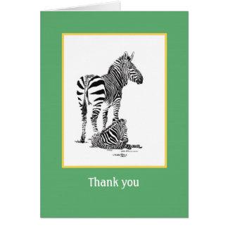 Tarjeta del de agradecimiento de la cebra
