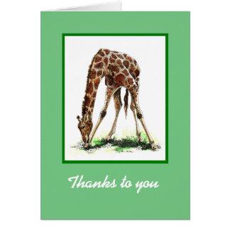 Tarjeta del de agradecimiento de la jirafa
