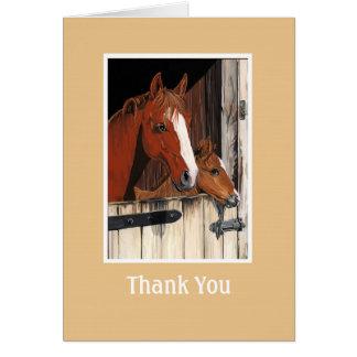 Tarjeta del de agradecimiento de los caballos
