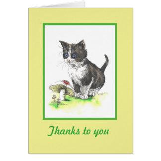 Tarjeta del de agradecimiento del gatito