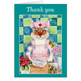 Tarjeta del de agradecimiento del gato de la enfer