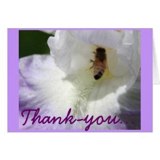 Tarjeta del de agradecimiento del iris y de la abe