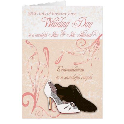 Tarjeta del día de boda de la sobrina con amor