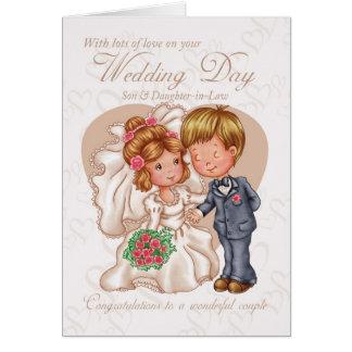 Tarjeta del día de boda del hijo y de la nuera con