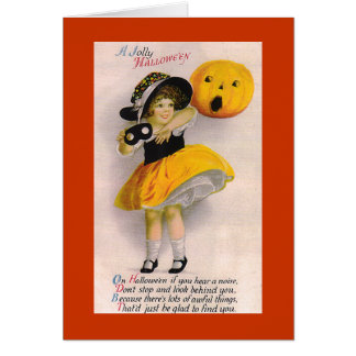 Tarjeta del día de fiesta de Halloween de la niña