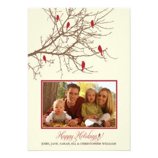 Tarjeta del día de fiesta de la familia de pájaros comunicados