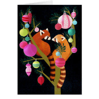 Tarjeta del día de fiesta de la panda roja