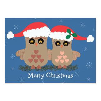 Tarjeta del día de fiesta de los búhos del navidad invitación