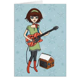 Tarjeta del día de fiesta del chica de la guitarra