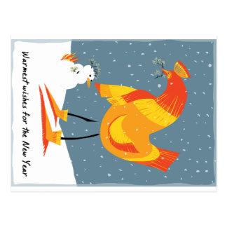 Tarjeta del día de fiesta del pollo de la nieve