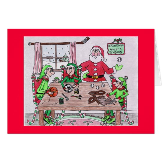 Tarjeta del día de fiesta del taller de Santas