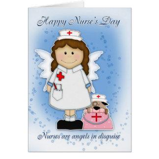Tarjeta del día de la enfermera - ángeles en disfr