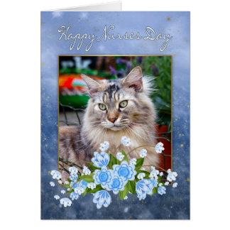 Tarjeta del día de la enfermera, gato de Coon de