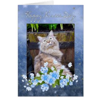 Tarjeta del día de la enfermera, gato de Coon de M