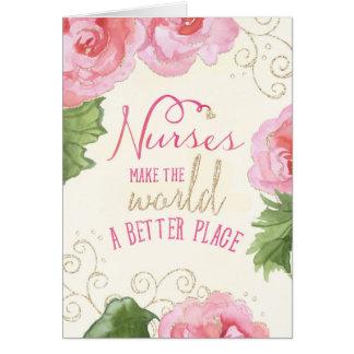 Tarjeta del día de las enfermeras - begonias y