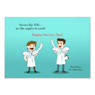 Tarjeta del día de las enfermeras de los ángeles invitación 12,7 x 17,8 cm