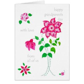 Tarjeta del día de los abuelos - flores rosadas