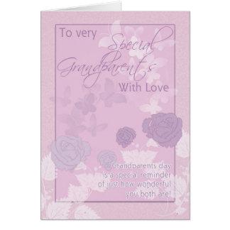 Tarjeta del día de los abuelos - rosa, mariposas y