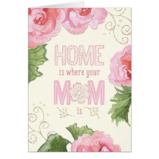 Tarjeta del día de madre - casera es donde está su
