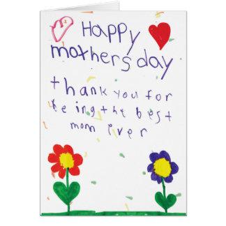 Tarjeta del día de madre con arte de los niños