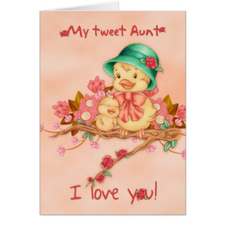 Tarjeta del día de madre con el bebé y tía Bird, m