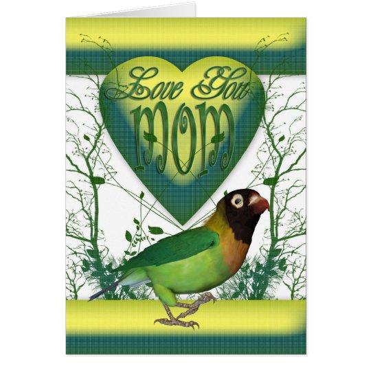 Tarjeta del día de madre con el pájaro del amor