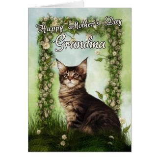 Tarjeta del día de madre de la abuela con el gato
