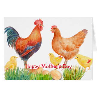 Tarjeta del día de madre de la familia del pollo