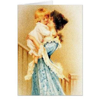 Tarjeta del día de madre de la madre y del niño