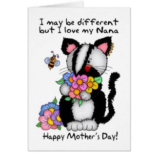 Tarjeta del día de madre de Nana - punk/roca/gato
