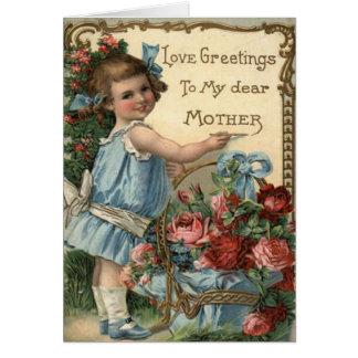 Tarjeta del día de madre del vintage con el poema