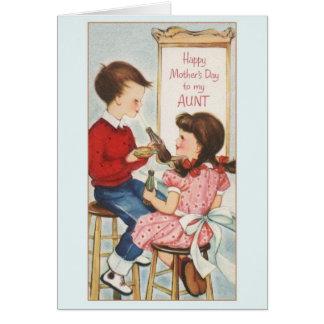 Tarjeta del día de madre del vintage para la tía