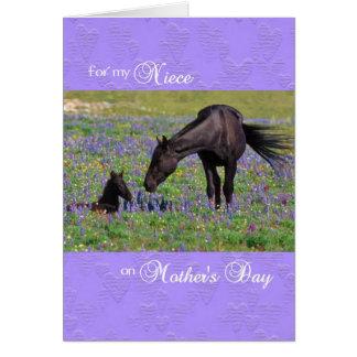 Tarjeta del día de madre para la sobrina, yegua