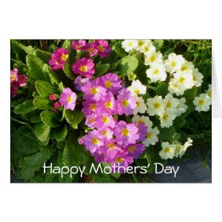 Tarjeta del día de madres con las flores coloridas
