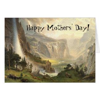 Tarjeta del día de madres de la cascada del
