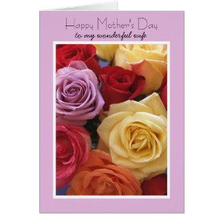 Tarjeta del día de madres de la esposa -- Rosas
