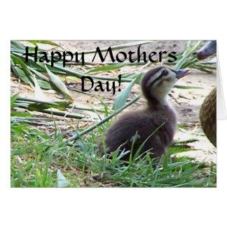 Tarjeta del día de madres de la familia del pato