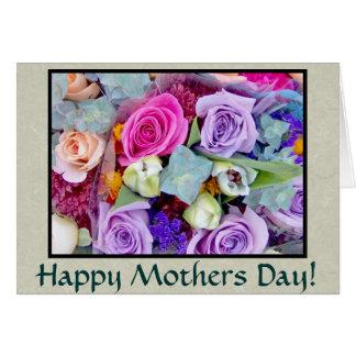 Tarjeta del día de madres de los capullos de rosa