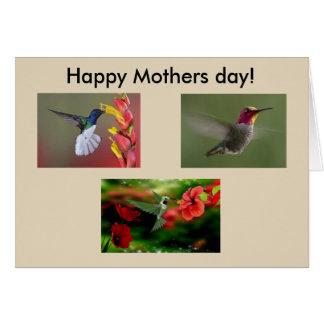 Tarjeta del día de madres de los colibríes