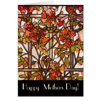 Tarjeta del día de madres del vitral de Tiffany