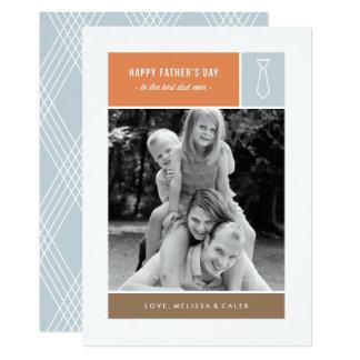 Tarjeta del día de padre atado - azul polvoriento invitación 12,7 x 17,8 cm