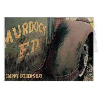 tarjeta del día de padre, coche de bomberos