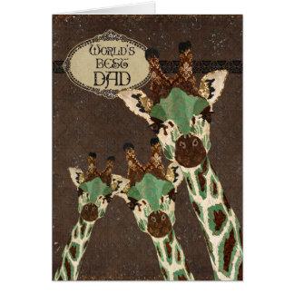 Tarjeta del día de padre de las jirafas del cobre