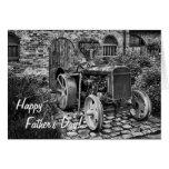 Tarjeta del día de padre del tractor del vintage