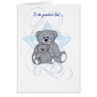 Tarjeta del día de padre, papá, dos pocos osos de