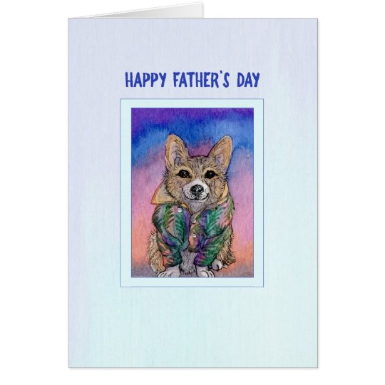 Tarjeta del día de padre, perro del Corgi en una