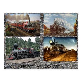 Tarjeta del día de padres de los motores de vapor postal